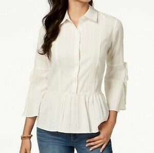 Style & Co Cute Peplum Bell Sleeve Cotton Top